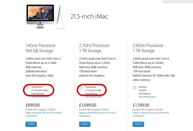 iMacの出荷が遅れている