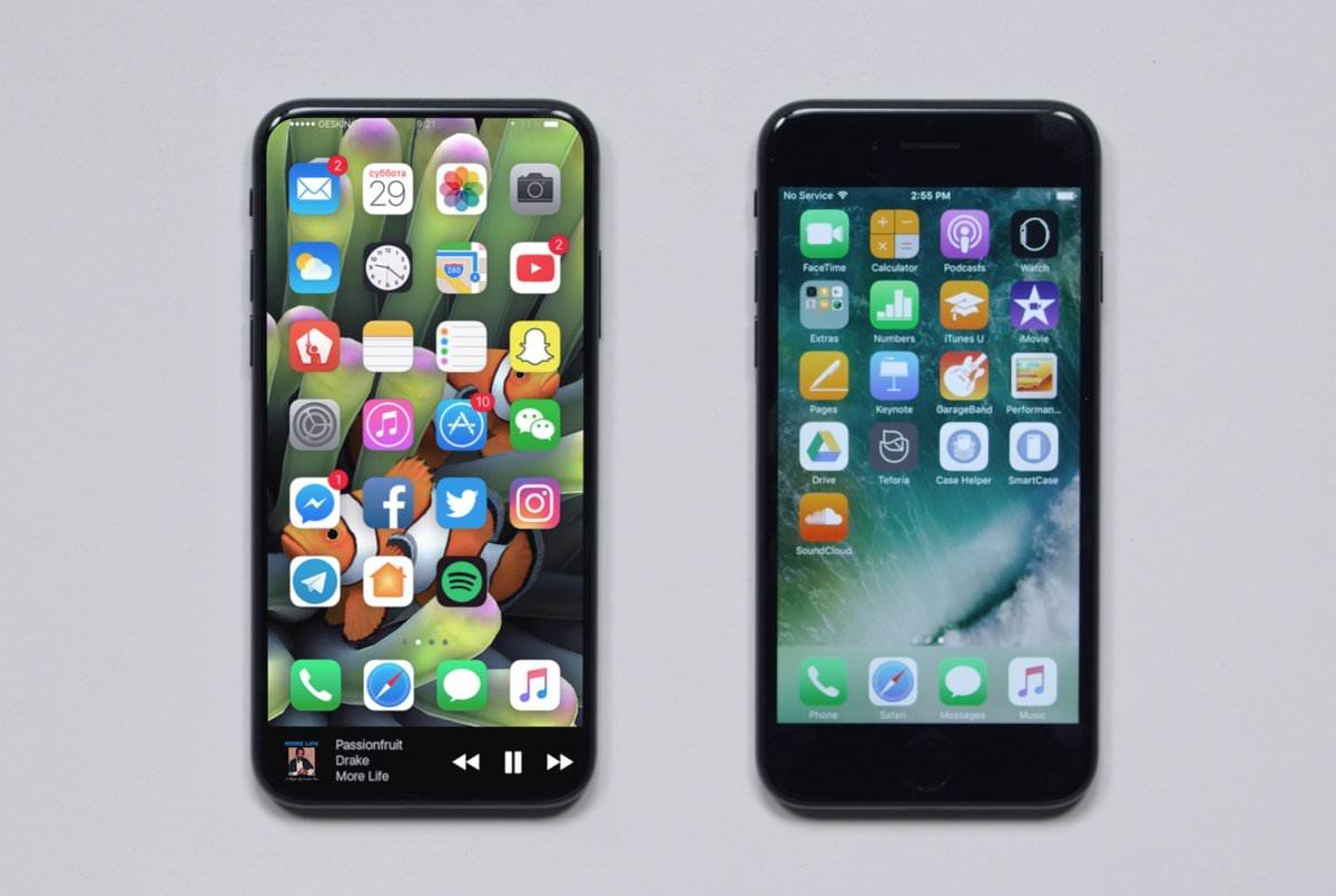 iPhone 8」のモックアップと「iPhone 7」を比較した画像が公開 これ ...